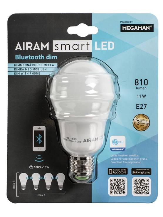 LED LAMPPU BLUETOOTH E27 11W AIRAM AI SMART DIM - AURINKOENERGIA - 6435200194886 - 1